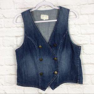 Current Elliott Double Breasted Denim Vest Size 3